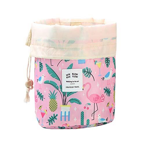 JooNeng Trousse da viaggio per cosmetici, con coulisse, da appendere, impermeabile, per donne e ragazze Fenicottero rosa.