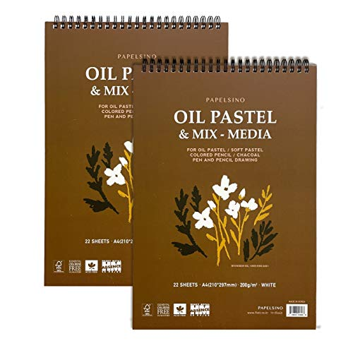 """2 Pack of Papelsino, Bristol Paper Sketchbook for Dry Media Oil Pastel, Colored Pencil, Pencil Drawing 8.5"""" x 11"""" A4 Vellum Surface"""