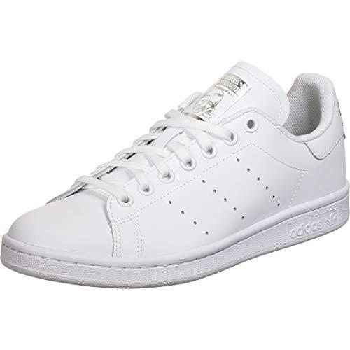 adidas Stan Smith J, Scarpe da Ginnastica Unisex-Bambini, Ftwr White/Ftwr White/Silver Met, 36 2/3 EU