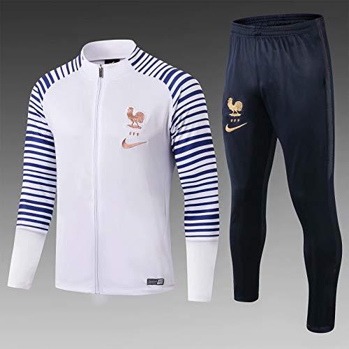 Ensemble Survêtement Zippé équipe de France Blanc Manches rayé Bleu et Coq Or sans étoiles Dry-fit Girls Saison 2020-2021 (Blanc rayé Bleu Fille 2021, L)