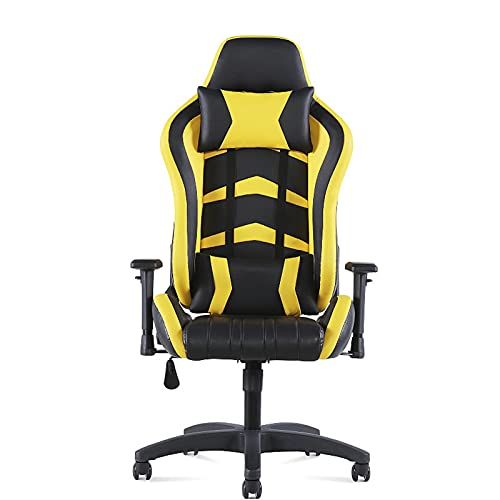 Silla de juegos, silla de oficina, respaldo alto, silla de escritorio, de cuero, silla de trabajo giratoria ajustable ergonómica con reposacabezas y soporte lumbar amarillo