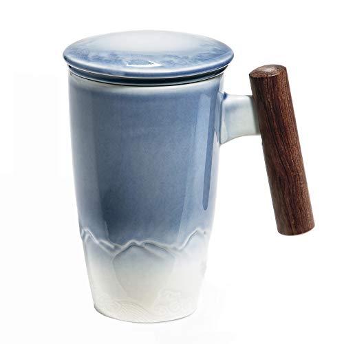 SULIVES Taza de Te Porcelana Mug Infusión con Filtro y Tapa Mango de madera 400ml (azul)…