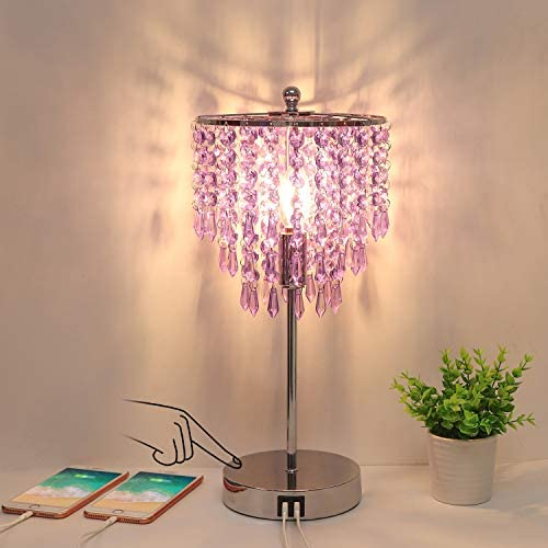 USB Bedside Crystal Lamp 3 Way Dimmable Touch Nightstand Lamp with Dual USB Charging Ports Lavender product image