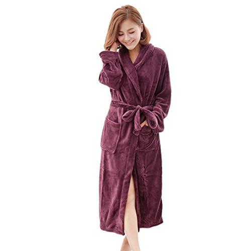 Guiping Albornoz de invierno de forro polar de color sólido, unisex, para hombres y mujeres, pijama, bata de baño, ropa de dormir coral (color: fucsia, talla: XL)