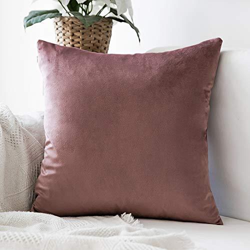 MIULEE Confezione da 1 Federa in Velluto Copricuscino Decorativo Fodera Quadrata per Cuscino per Divano Camera da Letto Casa40X40cm Marrone Rosa