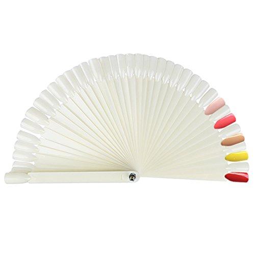 Andux Zone Fake Nail Art Secteur d'affichage Panneau en forme de ventilateur 50 pièces Outil de bâton de pratique MJXSK-01 (crème)