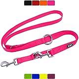 DDOXX Correa Perro Multiposición Nylon, Ajustable en 3 tamaños, 2 m | Diferentes Colores & Tamaños | para Perros Pequeño, Mediano y Grande | Correa Accesorios Doble 2 Gato Cachorro | L, Rosado, 2m