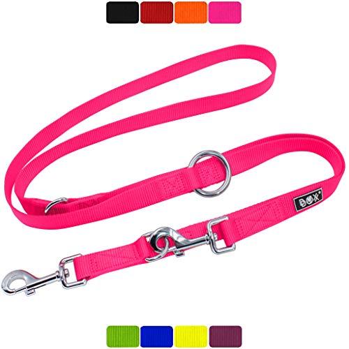 DDOXX Hundeleine Nylon, 3fach verstellbar, 2m | für kleine & große Hunde | Doppel-Leine Zwei Hund Katze Welpe | Schlepp-Leine groß | Führ-Leine klein | Lauf-Leine Welpen-Leine | XS, Pink