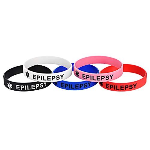Custom4U Epilepsy Bracelet,Epilepsy Jewellery,Silicone Rubber Medical Alert Bracelet for Teen Boys Girls Adult Children,5pcs Epilepsy Wristbands