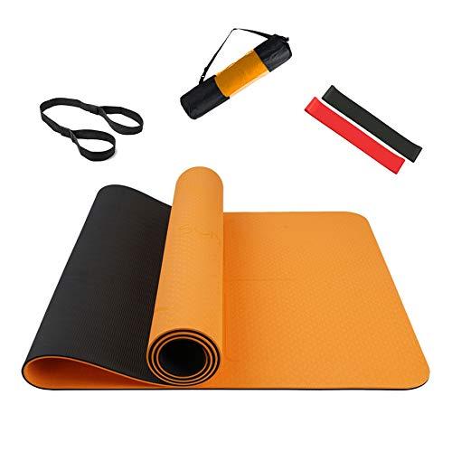 Summer Mae Yogamatte Gymnastikmatte Fitnessmatte Zweifarbig Gepolstert & rutschfest mit Ausrichtungslinie für Fitness 183 x 61 x 0,6 cm Orange Schwarz