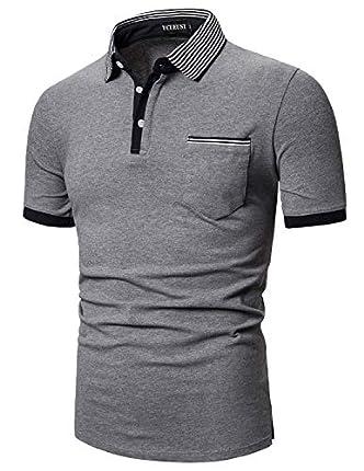 YCUEUST Polo para Hombre Manga Corta Camisas Cuello a Rayas Poloshirt Camiseta Gris Large