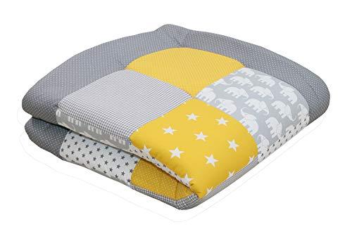 ULLENBOOM ® Tapis d'Éveil et Matelas pour Parc Bébé Éléphant Jaune (100x100 cm Tapis sol bébé patchwork, Motifs pois, étoiles, vichy)