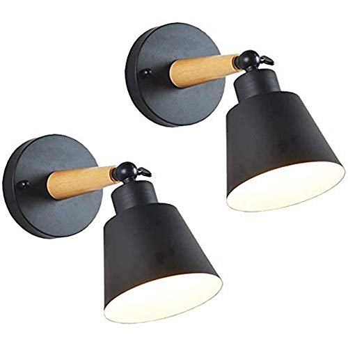 Mengjay 2 Stück E27 Retro Vintage Wandbeleuchtung Wandleuchte Metall Wandlampe Innen Industrielampe Wohnzimmer Esstisch Moderne Industrial Lampe Wandleuchten Loft Deckenleuchte (Schwarz)