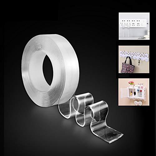 JINLO plakband herbruikbare lijm, dubbelzijdig nano dubbelzijdig plakband 2 mm transparant plakband voor tafelblad, vloer, deuren of ramen, glas, spiegel, whiteboards