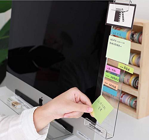 便箋版、透明便箋メッセージボード、パソコンディスプレイメッセージボード、パソコン便箋版、パソコンディスプレイアクリル付箋メッセージボード,ウィンカム メモボード,メモスタンド,ふせん置き付き (透明右側の欄) 多機能 パソコン収納 スマホホルダー 机収納