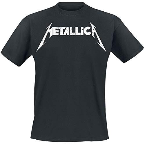 Metallica Textured Logo Hombre Camiseta Negro, Regular