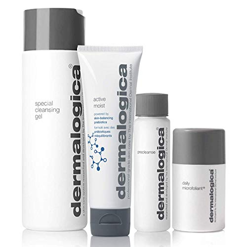 Dermalogica Healthy Skin Essentials Set - Includes: Face Wash, Face Moisturizer, Precleanse, and Face Exfoliator - Maintain Bright, Smooth, Healthy Skin