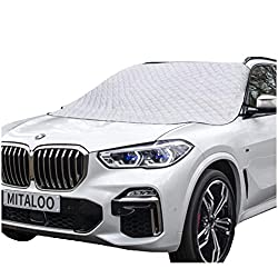 Image: MITALOO Car Windshield Snow Cover with 4 Layers Protection, Frost Ice Removal Sun Shade for Winter Protection, Extra Large and Thick Windshield Ice Cover Fits for Cars Trucks Vans and SUVs