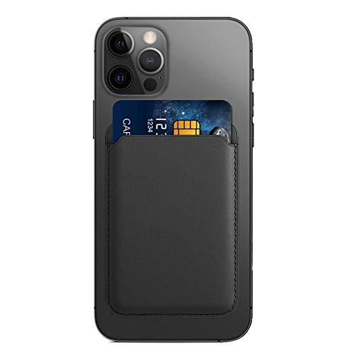 AnCoSoo Titular de la Tarjeta de Crédito para el iPhone, Cartera Magnética del Caso de la Cartera del Tenedor de La Tarjeta de Crédito del Teléfono Móvil para el iPhone 12/12 Mini/Pro/MAX (Negro)