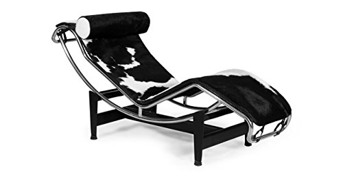 Kardiel Le Corbusier Style LC4 Chaise, Black & White Cowhide w/Matching Pillow