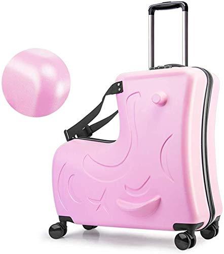 ZHNA-School bag Children trolley suitcase & storage bag, portable carry-on travel bag, Folding Trolley Ride On luggage carts, children rest luggage sets (Upgrade) (Color : Pink, Size : 20inch)