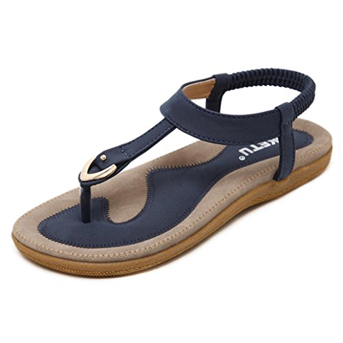 VJGOAL Damen Sandalen, Frauen Mädchen Böhmischen Mode Flache beiläufige Sandalen Strand Sommer Flache Schuhe Frau Geschenk (40 EU, Blau)