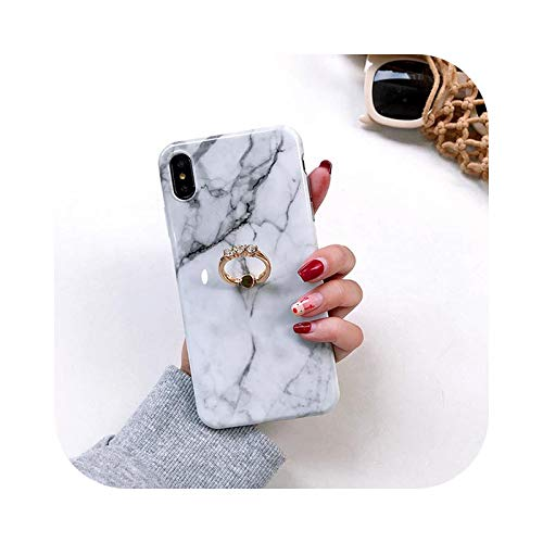 KASHINO Funda de teléfono de mármol para iPhone 12 Mini Pro Max 11 Pro Max X XR XS MAX 6 7 8 Plus anillo de dedo soporte suave IMD teléfono Cover i-For iPhone 12 ProMax