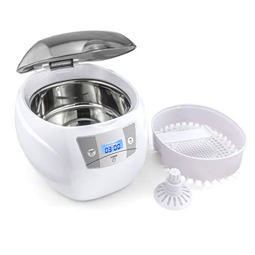 Skymen Ultrasonic Jewelry Cleaner Sonic Cleaning Machine for Silver Jewelry, Diamond Rings, Necklaces, Eyeglasses, Dentures, Watch Belt, 750ml