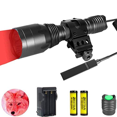 BESTSUN Red Hunting Light, 350 Yards Red LED Predator Light Waterproof Tactical Flashlight, 1000 Lumens Coyote Varmint Night Hunt Red Light with Picatinny Rail Offset Mount, Pressure Switch