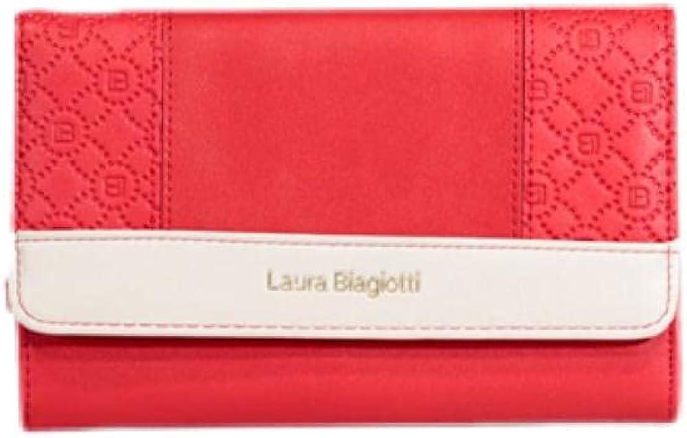 Laura biagiotti portafoglio da donna porta carte di credito in ecopelle rossa