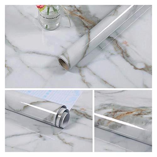 YSJSPOL tapet 60 cm x 10 m kök PVC väggklistermärken marmor bänkskiva klistermärken badrum självhäftande vattentät tapet (färg: Vitt träkorn, mått: 60 cm x 2 m)