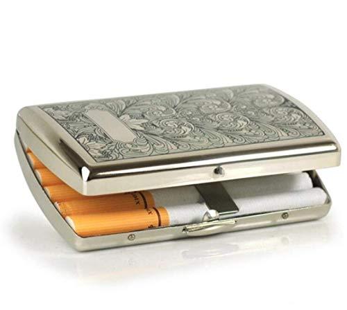 HYY-YY Caja de Cigarrillo, Nueva Cobre Puro Caso de Cigarrillos, de una Sola Pieza Carving Boquilla del Cigarrillo Caja, Puede Contener 12 Cigarrillos, de Acceso Libre (Color: Amarillo, tamaño: 8.6 *