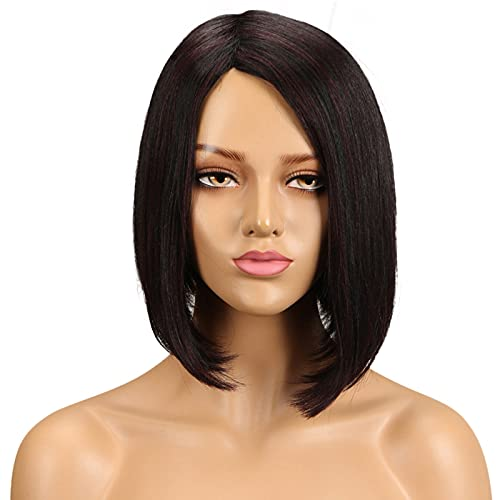 QVR Medium short straight L Part None Lace Front Wigs Human Hair Wigs for Women Machine Made Bob Wigs Side Part 10 inch Wigs Color Black to 99J Wine Red Burgundy