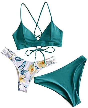 ZAFUL Women Swimwear Adjustable Back Criss Cross Braided Spaghetti Strap Flower Bikini Set L product image