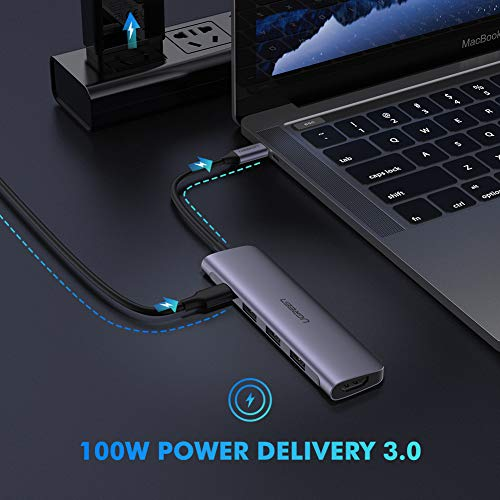 UGREEN USB C Hub 5 in 1 Type C 3.1 to 4K HDMI 3 USB 3.0 Ports PD Charging Port Multiport Adapter Thunderbolt 3 Dock Station Dongle Compatible for MacBook Pro 2018 2017 Galaxy Note 10 S10 S9 S8 Plus
