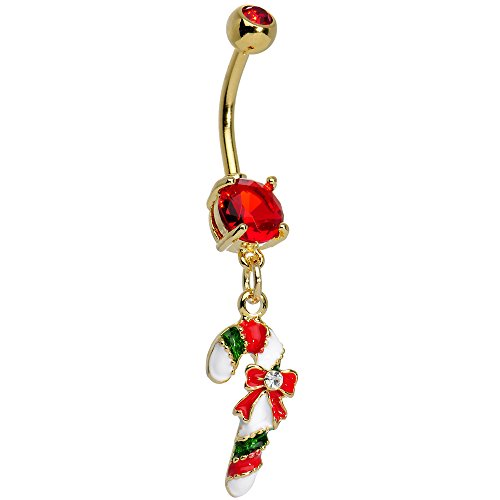 Red Festive Candy Cane Dangling Belly Ring