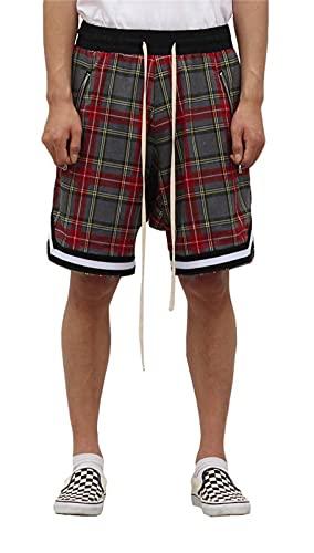 BAAFG Pantalones Cortos de Verano Hombres Hiphop Shorts Portales de Malla Pantalones Cortos de Playa Transpirables 03-XXL