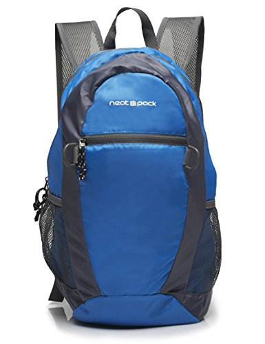 NeatPack Durable, Foldable Nylon Backpack / Daypack with Security Zippers, 20L, Blue