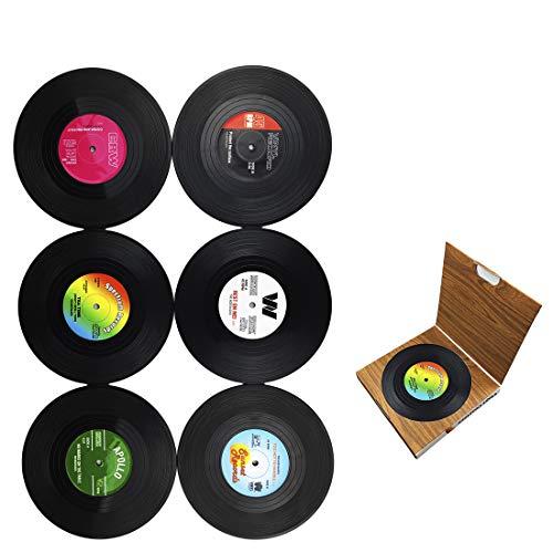 Dooppa Untersetzer in Form von Retro-Vinyl-CD-Platten, 6 Stück