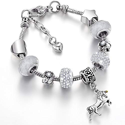 Set de Brazalete de Dije de Cristal de Unicornio con Joyero para Niñas Dama Día de San Valentín (Plata, 14 cm)