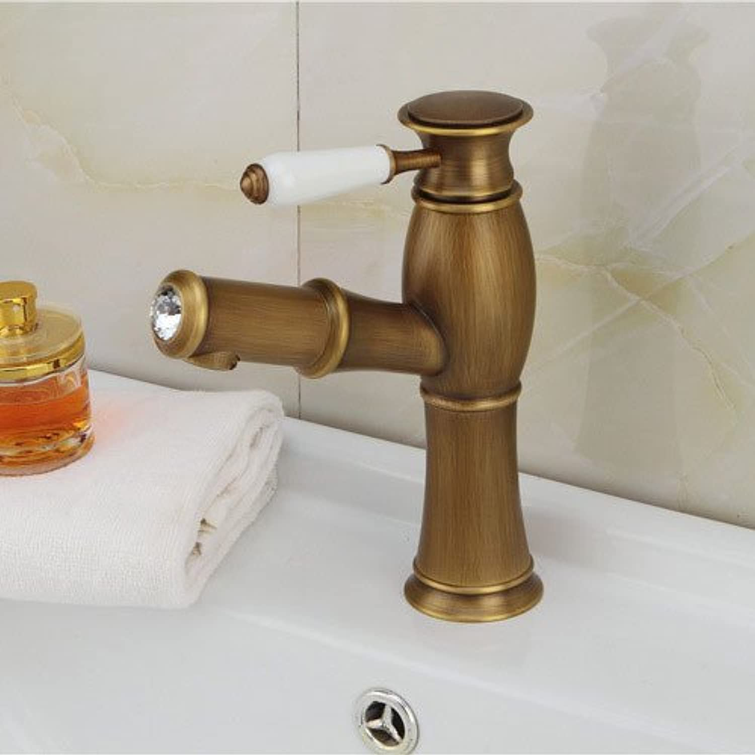 Decorry Antique Copper Drawing Whole Basin Vanity Basin Faucet Hot and Cold Taps Continental B
