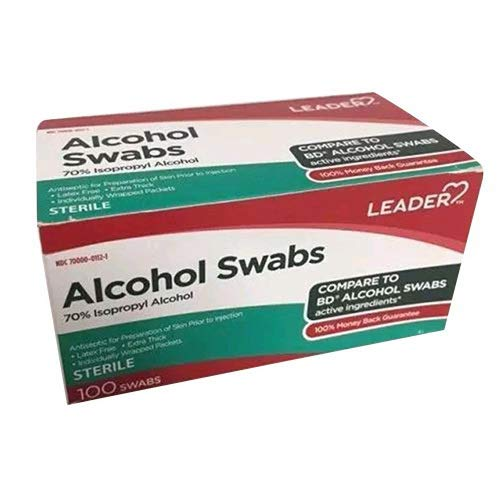Leader Alcohol Swabs 70 Percent Isopropyl Sterile, 100 Ea, 100 Count