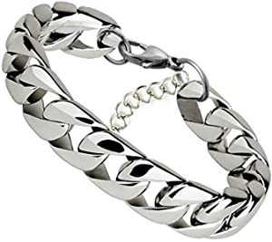 Stainless Steel Chain Bracelet Titanium Biker Link Wrist Cuff Bangle Punk for Men