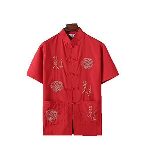 Kurzarm-Stehkragen für traditionelle chinesische Männer mit Dragon Design Tang-Anzug Tai Chi-Hemd Kung Fu-Uniform (9,3XL)