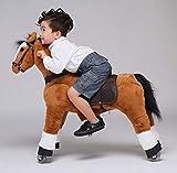 UFREE Caballo, Gran Regalo para niños, Unicornio de Juguete, cabalga, Mediano, Adecuado para niños de 4 a 9 años, Altura de 93 cm (Cuerpo marrón, Melena y Cola Negras.