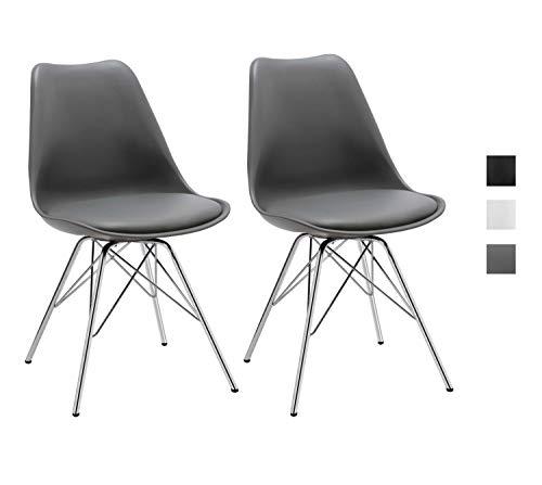 Duhome Esszimmerstuhl 2er Set Küchenstuhl Kunststoff mit Sitzkissen Stuhl Vintage Design Retro Farbauswahl 518J, Farbe:Grau, Material:Kunstleder