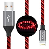 iCrius iPhone Charger Cable, [MFi Certified] 6ft LED Light Up Visible Flowing Lightning Charger Charging Cord Compatible with iPhone11 Plus/XS/XR/X /8 Plus / 8/7 Plus / 7, iPod Touch More-Red