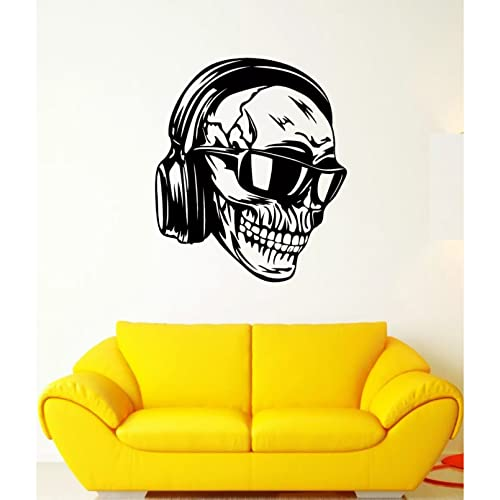 hhhjjj Skeleton Skull Detachable Vinyl Wall Sticker with Earphones and Glasses, Music Art Design Wallpaper for Home Decoration