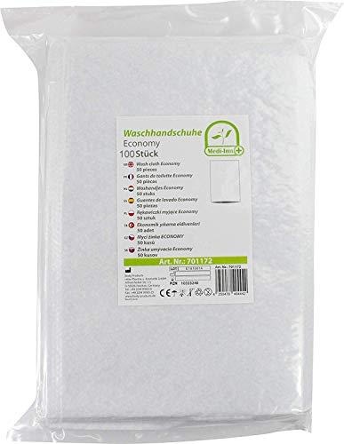 Medi-Inn Einmal-Waschhandschuhe ECONOMY | 100 Stück | Einmalwaschlappen zur schnellen & gründlichen Körper- & Intimpflege | zur Babypflege