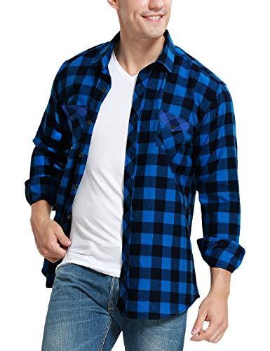 JEETOO Homme Chemise à Carreaux Manche Longue Casual Slim Fit en Flanelle (Bleu Noir, X-Large)